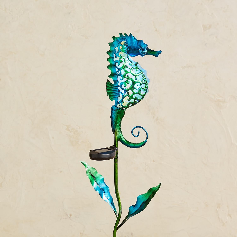 LED Solar Blue Seahorse Garden Stake