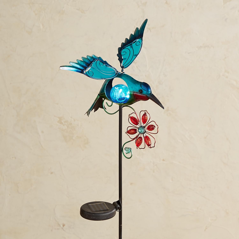 LED Solar Turquoise Hummingbird Garden Stake
