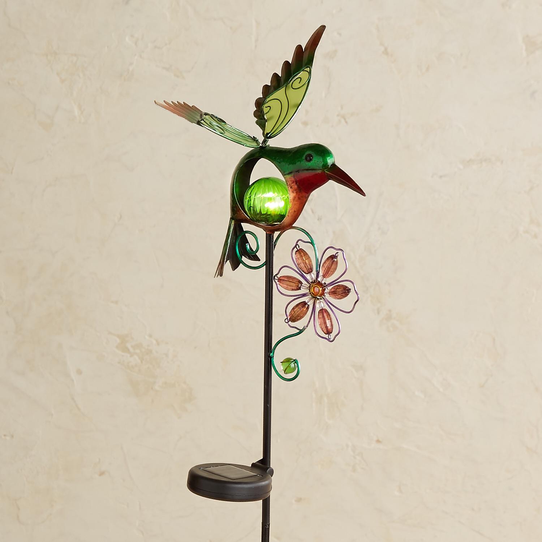 LED Solar Green Hummingbird Garden Stake