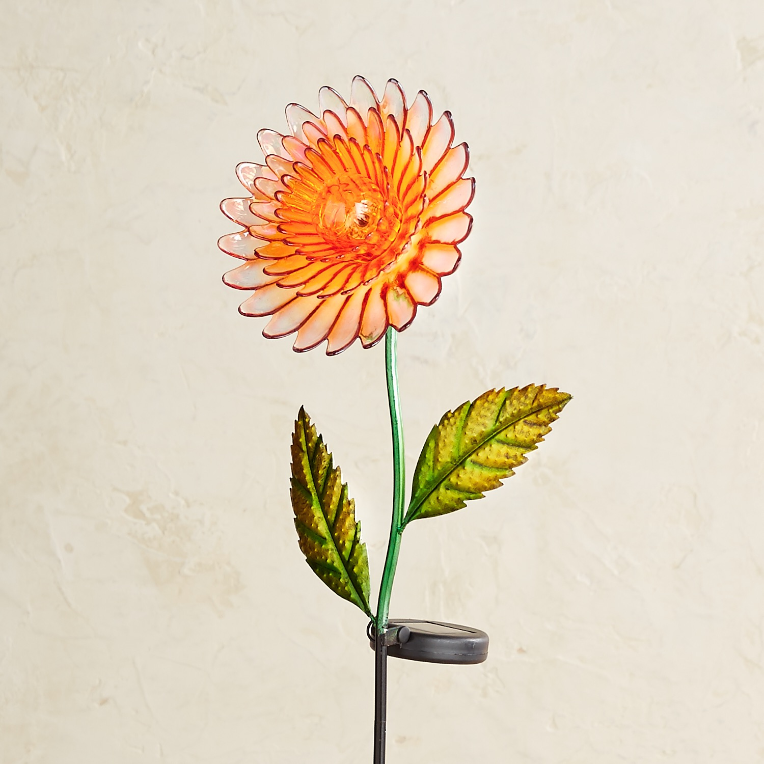 variation thumbnail of LED Solar Orange Glass Daisy Garden Stake