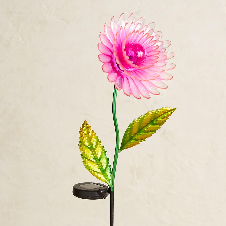 LED Solar Pink Glass Daisy Garden Stake