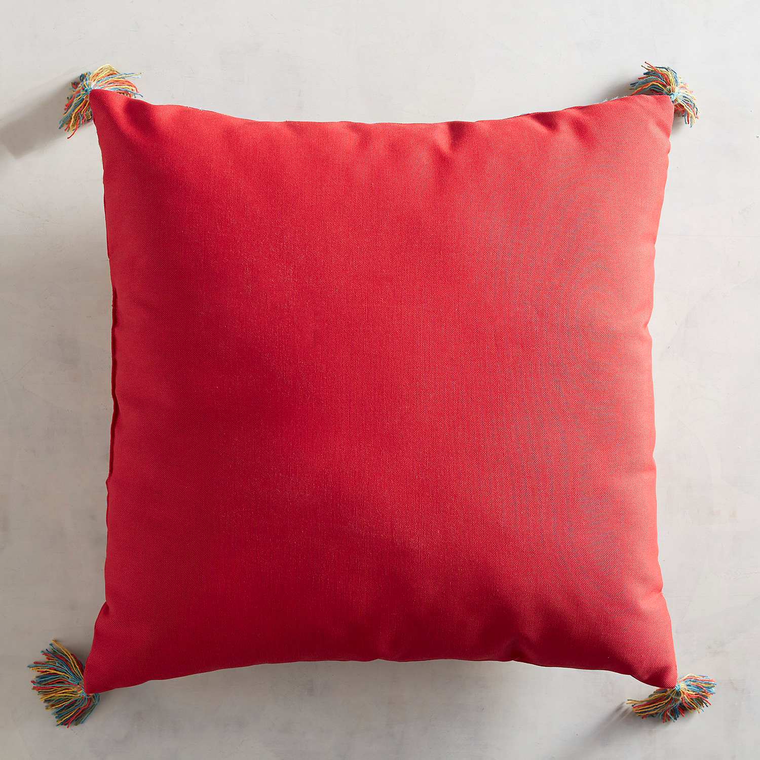 Embroidered Red Paisley Pillow with Tassels