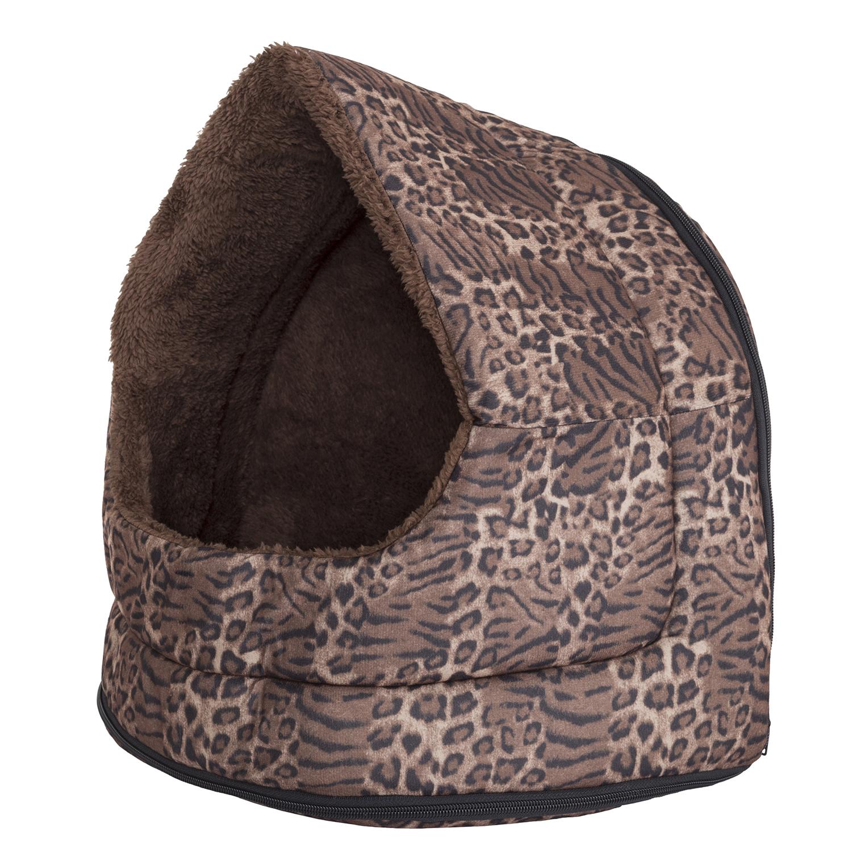 Cozy Canopy Leopard Print Pet Cave Bed