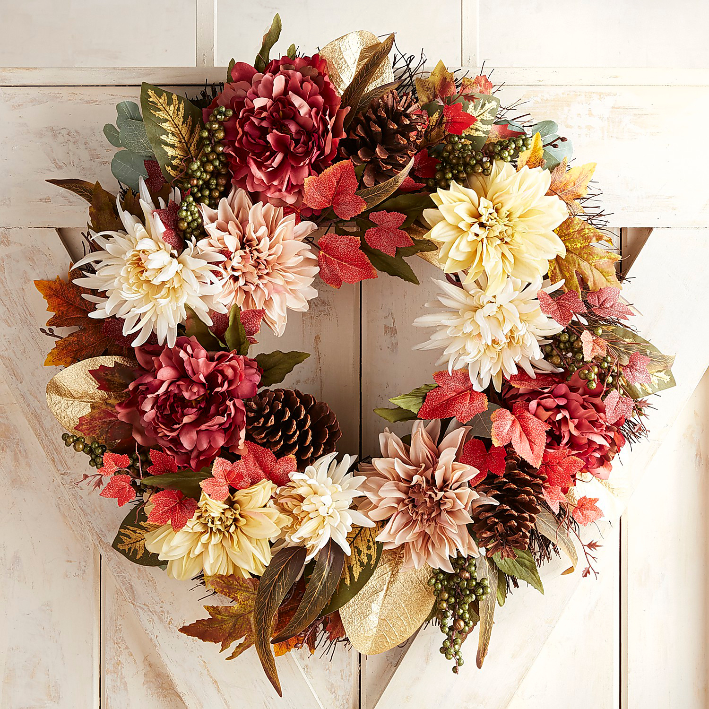 "Faux Blush Peony & Dahlia 24"" Wreath"
