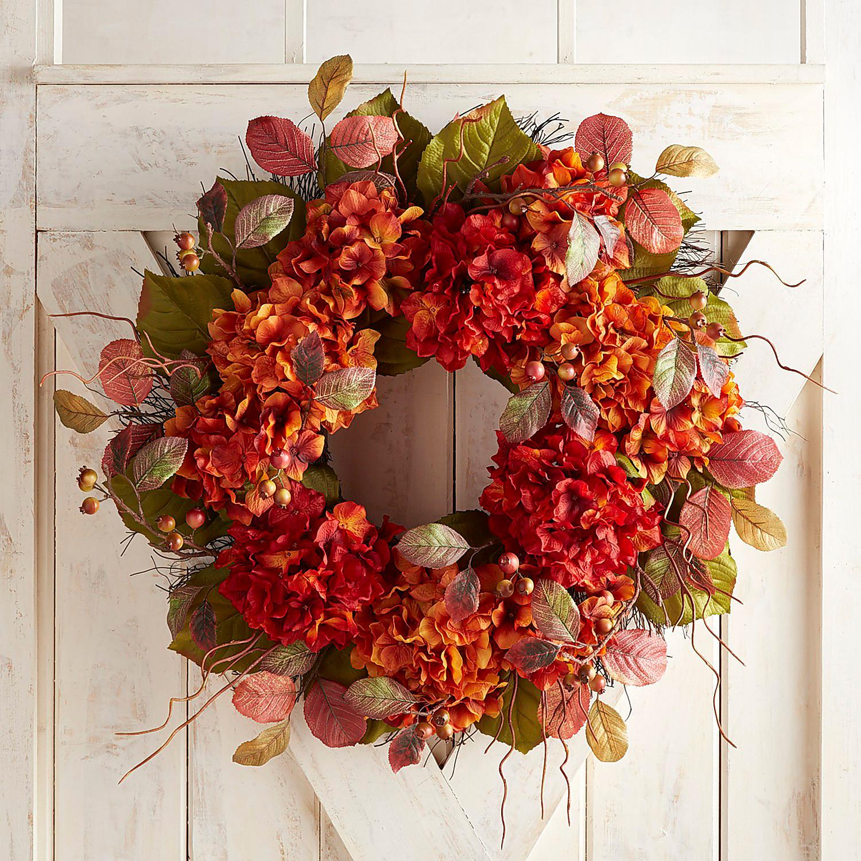 """Faux Fall Hydrangea 30"""" Oversized Wreath"""
