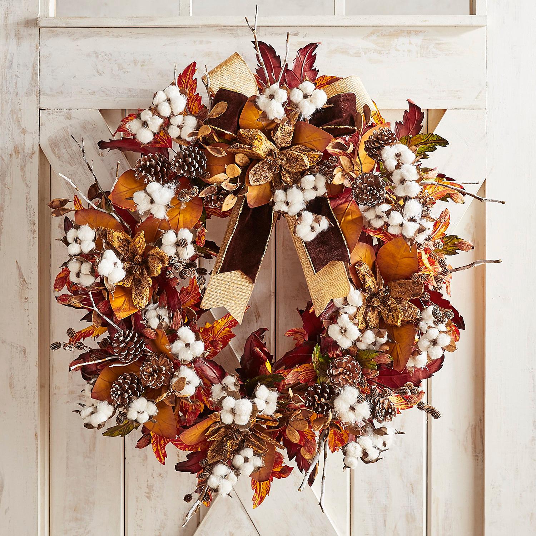 "Luxe Cotton Flower 30"" Oversized Wreath"