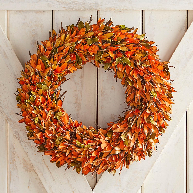 """Orange Wood Curl & Twig 19"""" Wreath"""