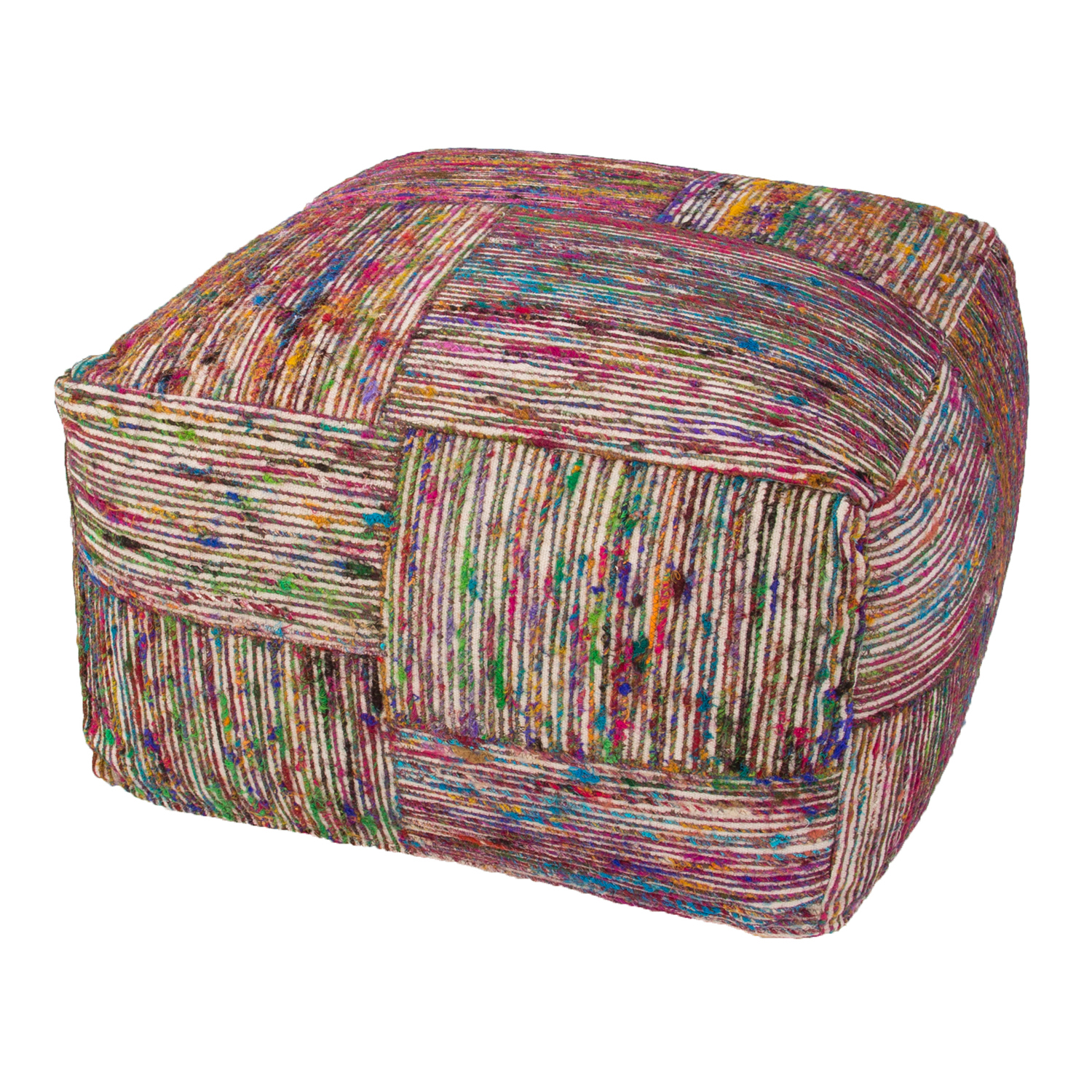Fuschia & Purple Multicolor Pouf