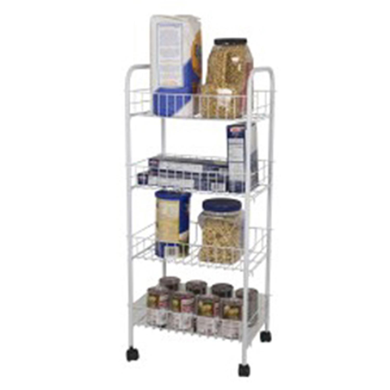 White 4-Tier Steel Kitchen Trolley