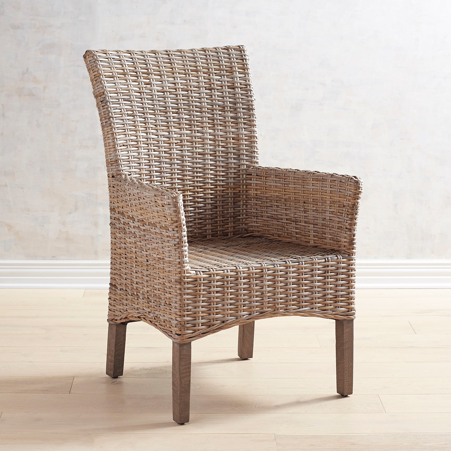 Kubu Dining Armchair with Gray Wash Legs