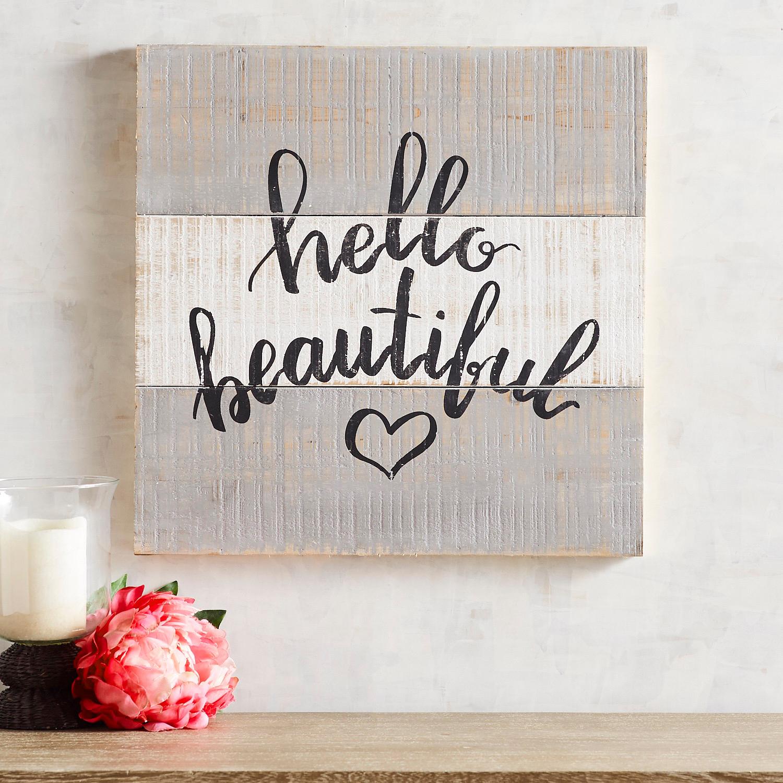 Hello Beautiful Planked Wall Art