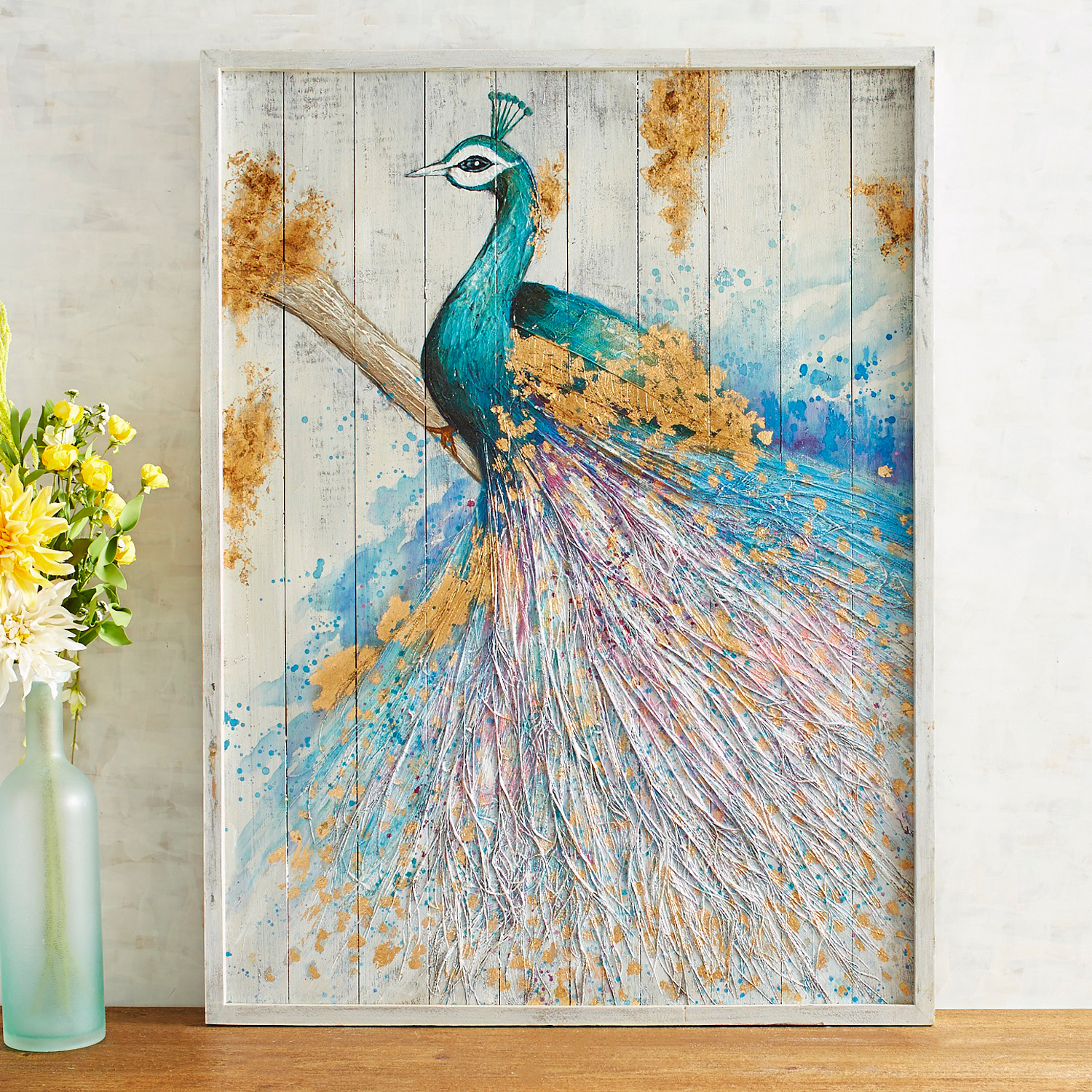 Planked Glamorous Peacock Wall Decor