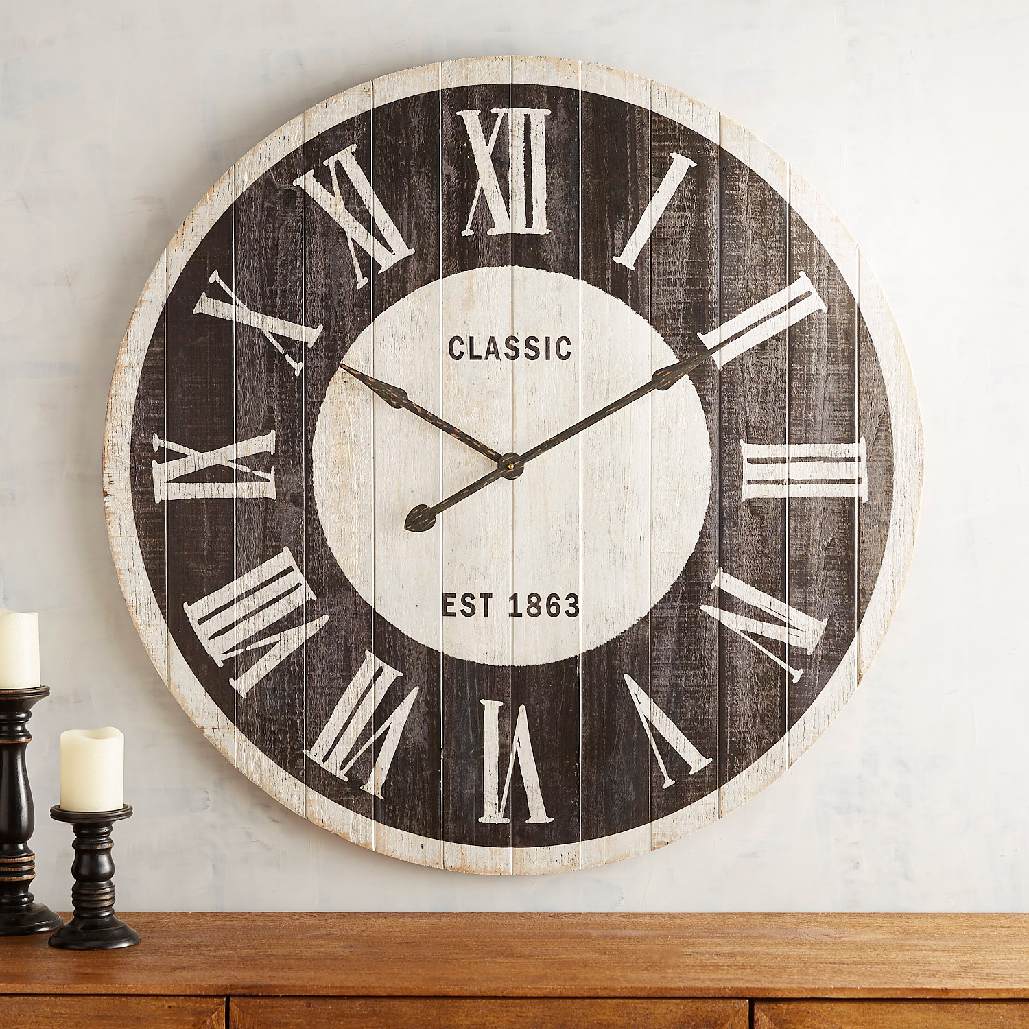 Black & White Planked Classic Wall Clock