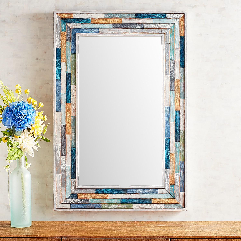 Indigo Planked Mirror