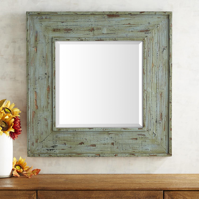Rustic Sage Wooden Mirror