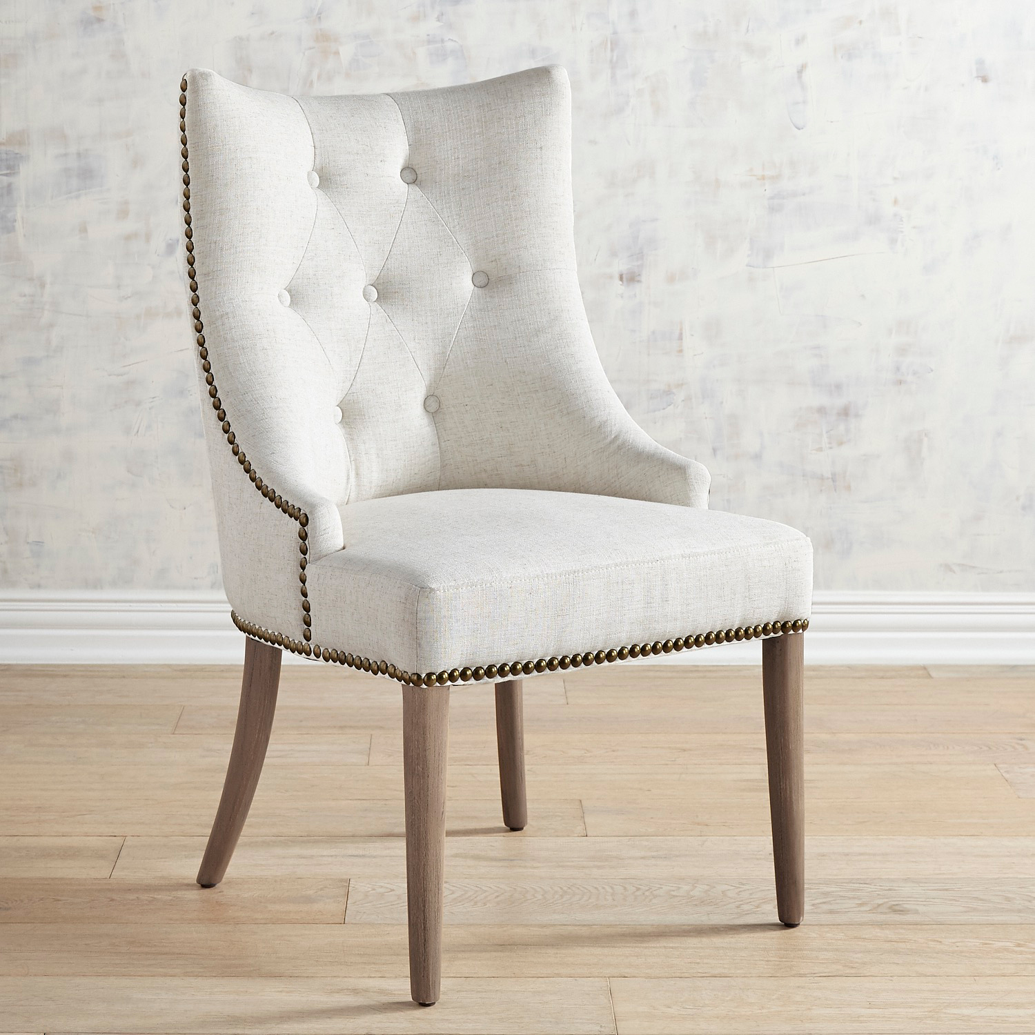 Jocelyn Ivory Dining Chair with Soft Gray Wood