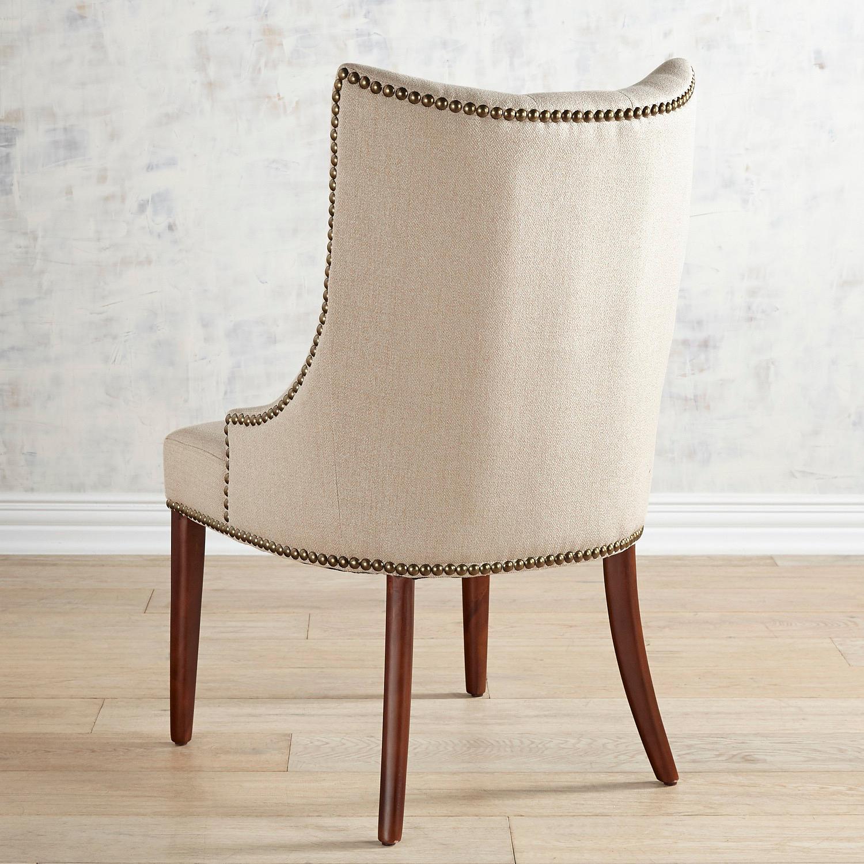 Jocelyn Flax Dining Chair with Walnut Brown Wood