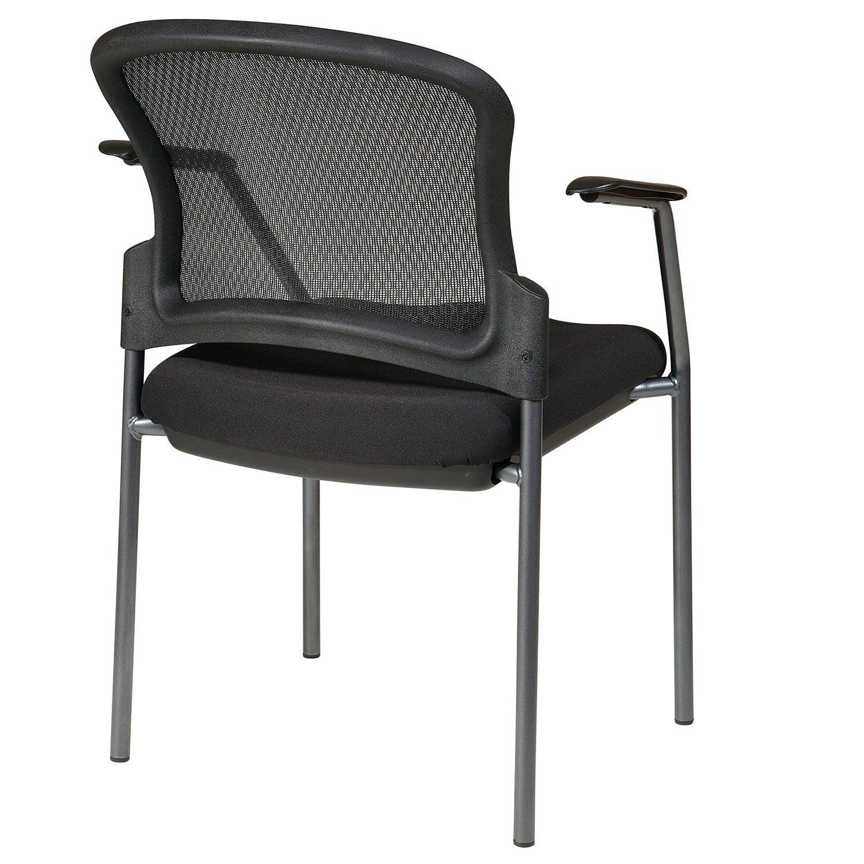 Contour Back Titanium Finish Chair with Arms