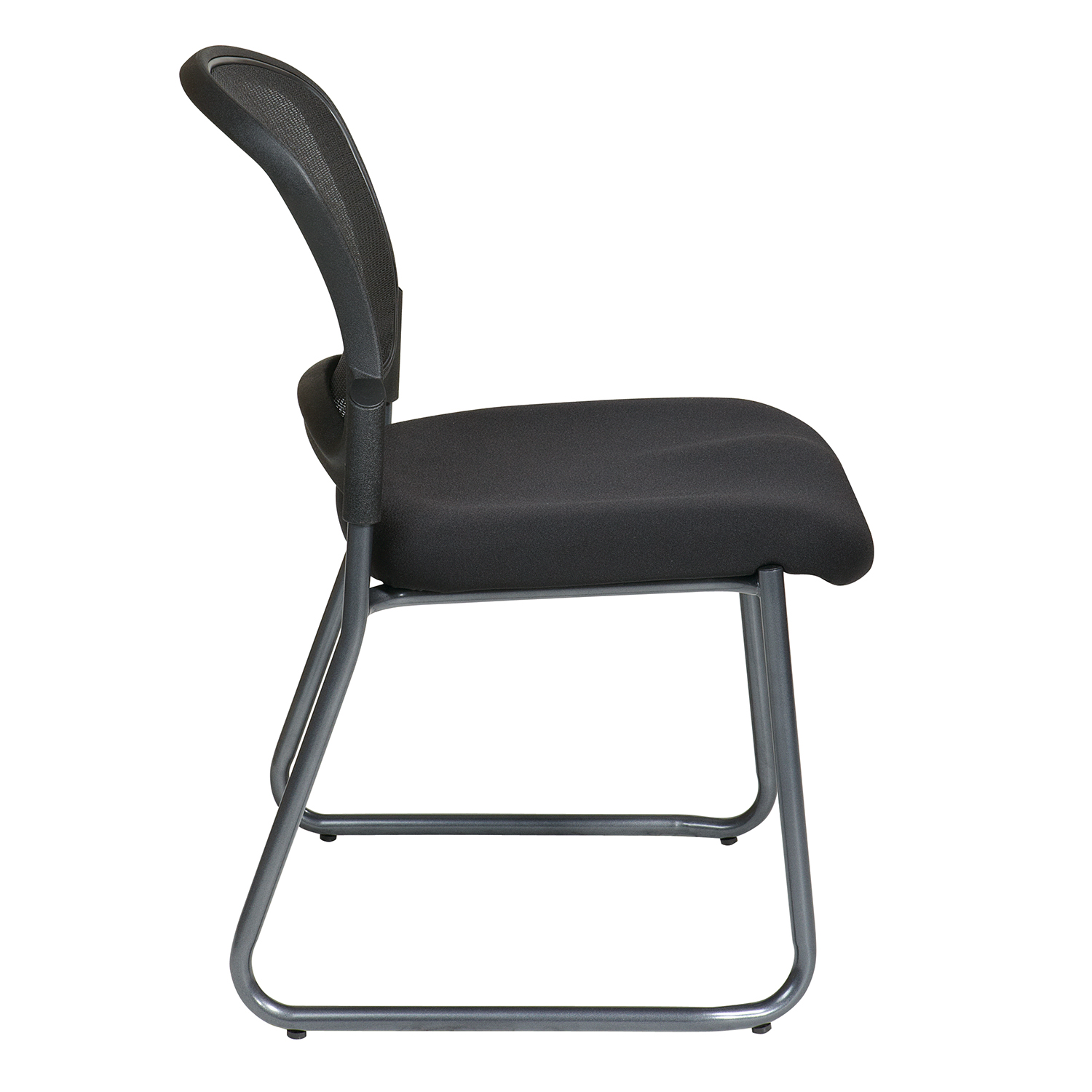 Titanium Finish Black Visitors Chair with Sled Base