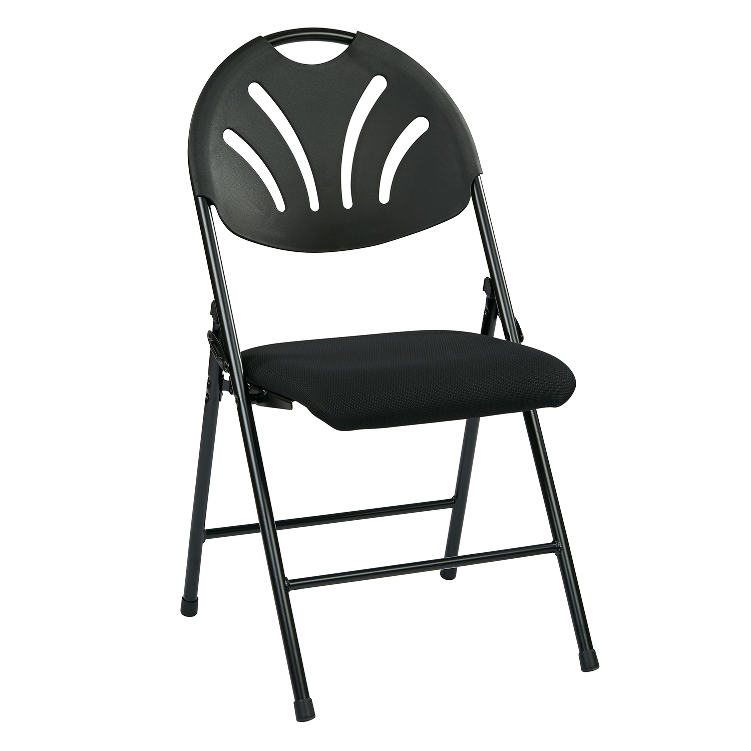 Black Folding Chair with Plastic Fan Back Set Of 4