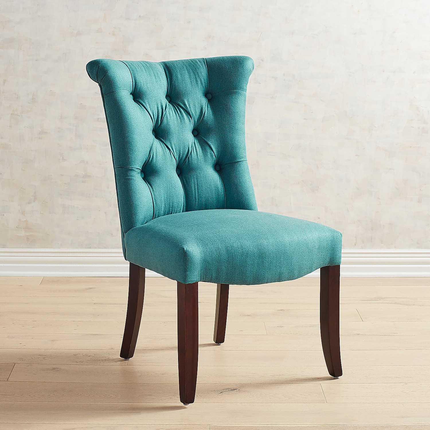Colette Teal Dining Chair with Espresso Wood