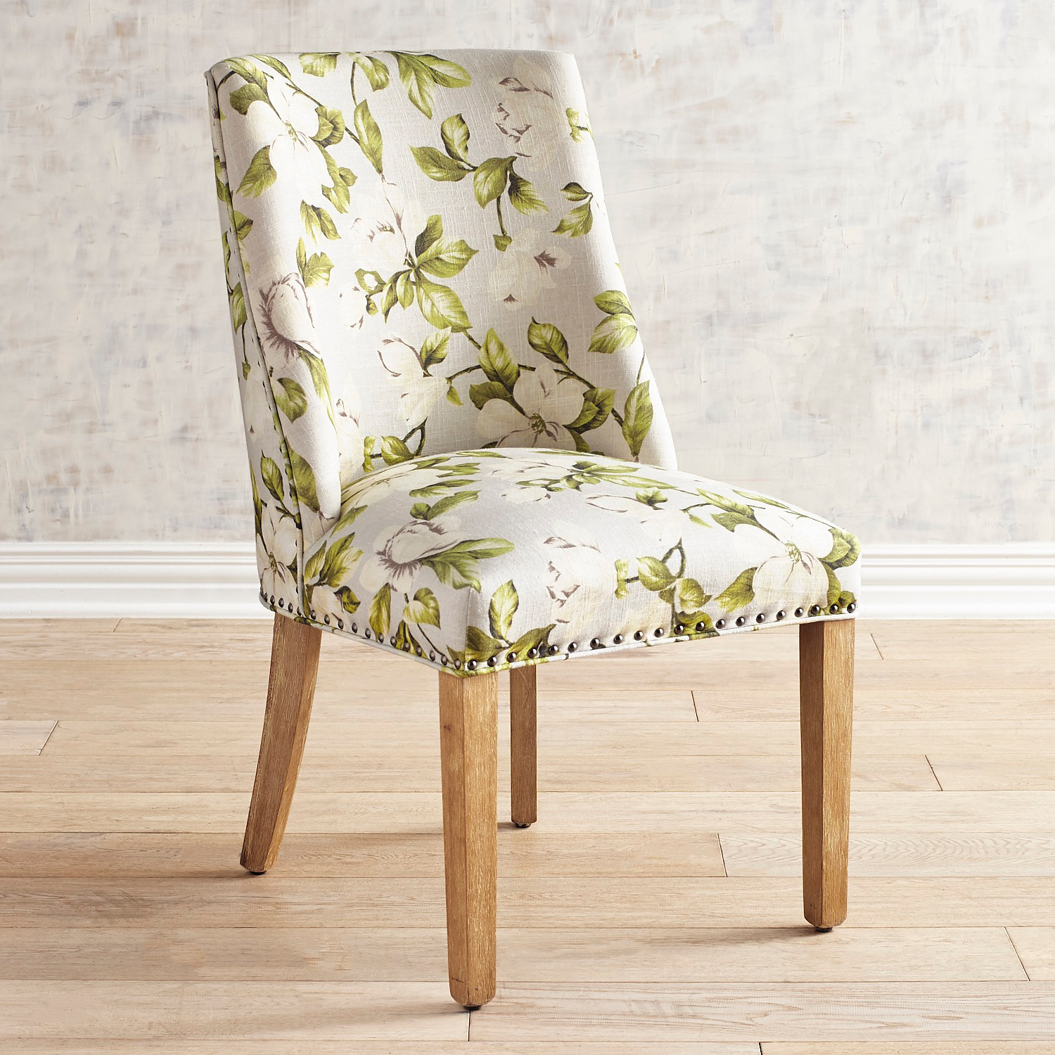 Corinne Magnolia Dining Chair with Natural Stonewash Wood