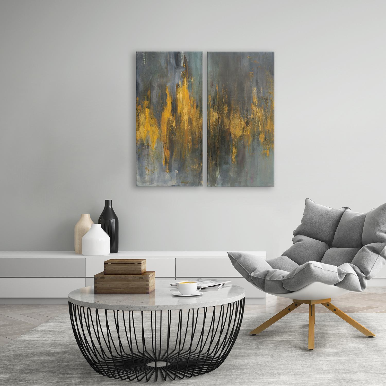 Black & Gold Abstract Printed Acrylic Wall Art Set of 2