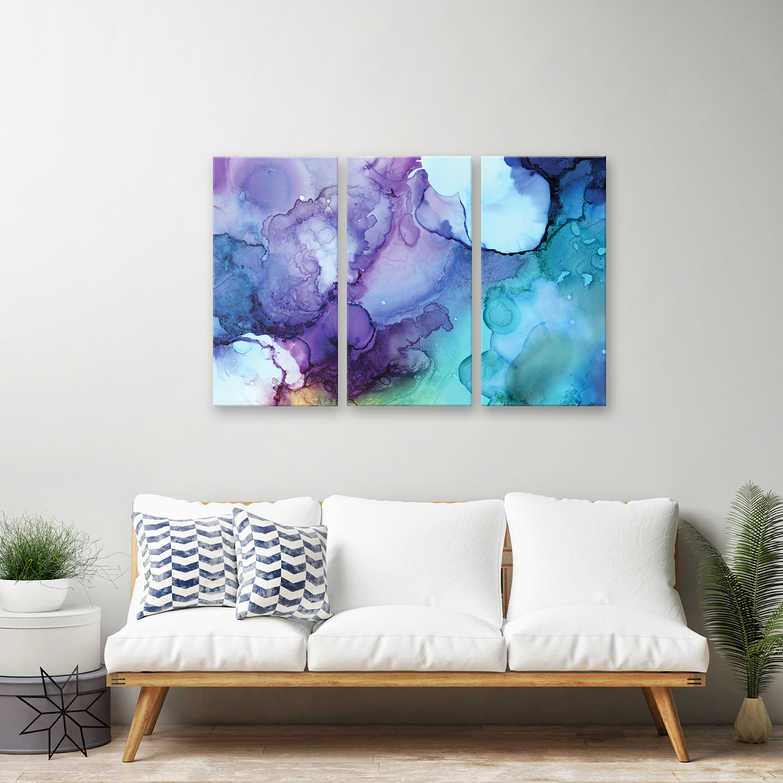 Blues Printed Acrylic Wall Art Set of 3