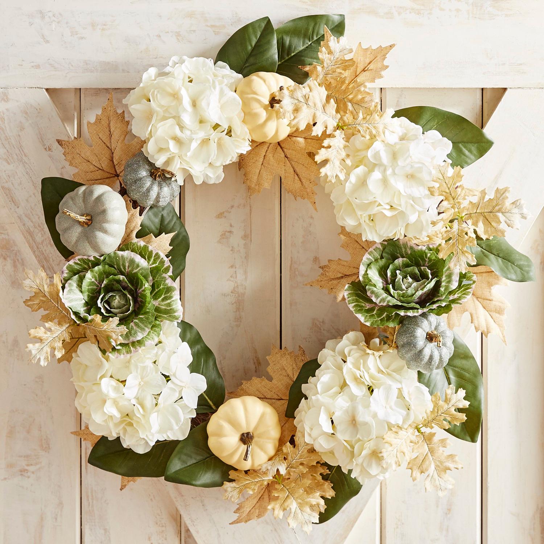 "Faux Cabbage & Hydrangea 26"" Wreath"