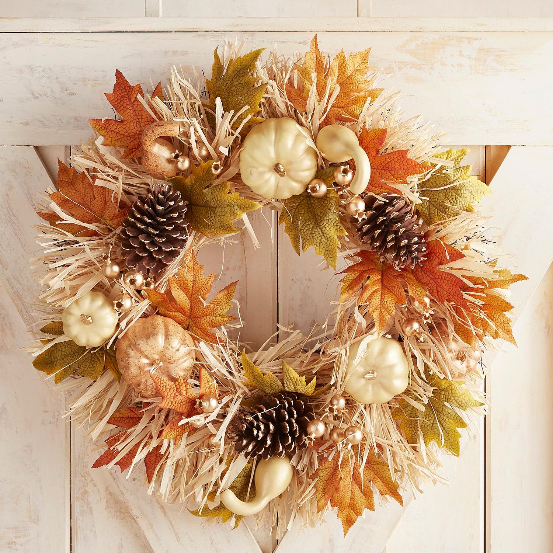 "Pumpkin & Raffia 24"" Wreath"