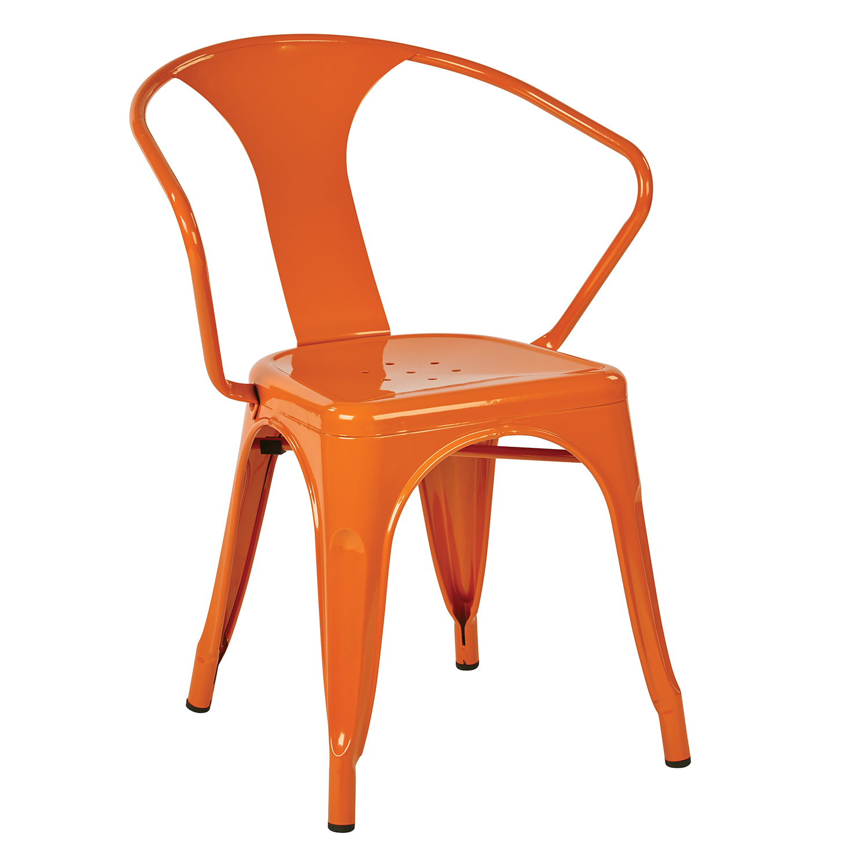 "Patterson Orange 30"" Metal Chairs Set of 2"