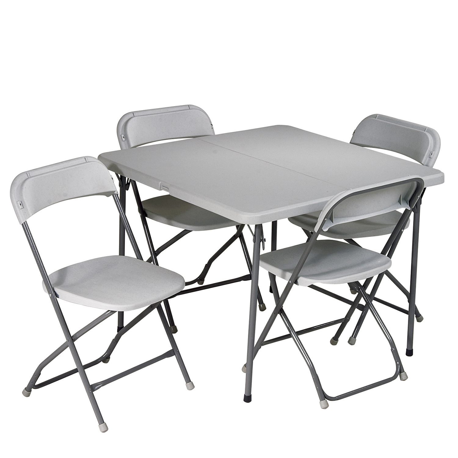 Gray Folding Square Table & Chairs 5-Piece Set