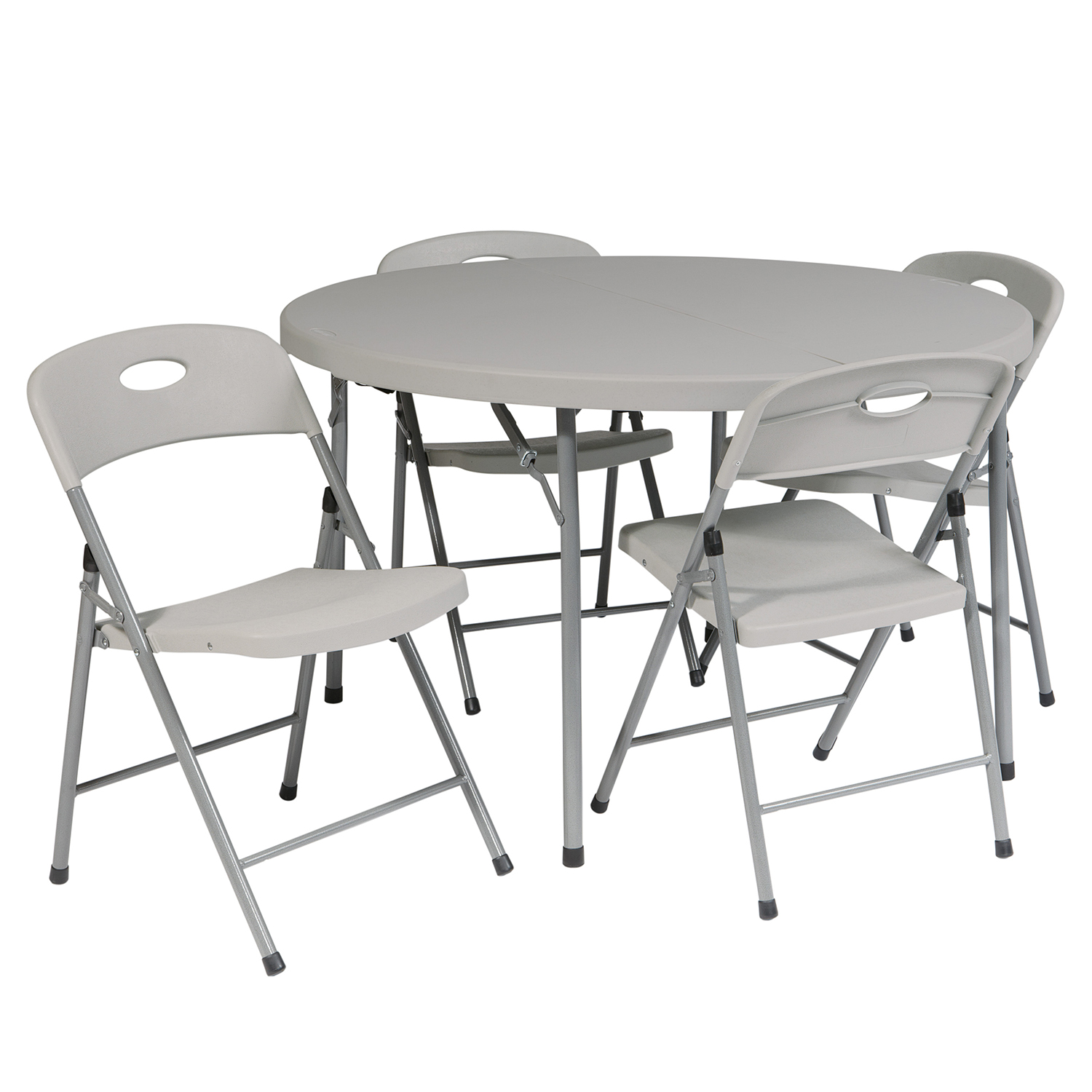 Gray Folding Round Table & Chairs 5-Piece Set