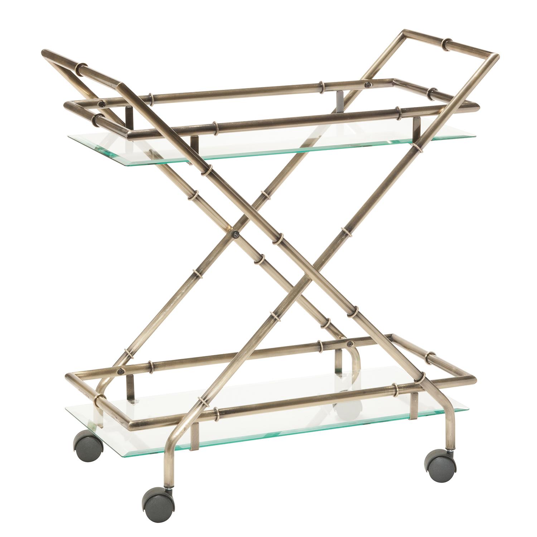 Antiqued Brass Lanai Bar Cart