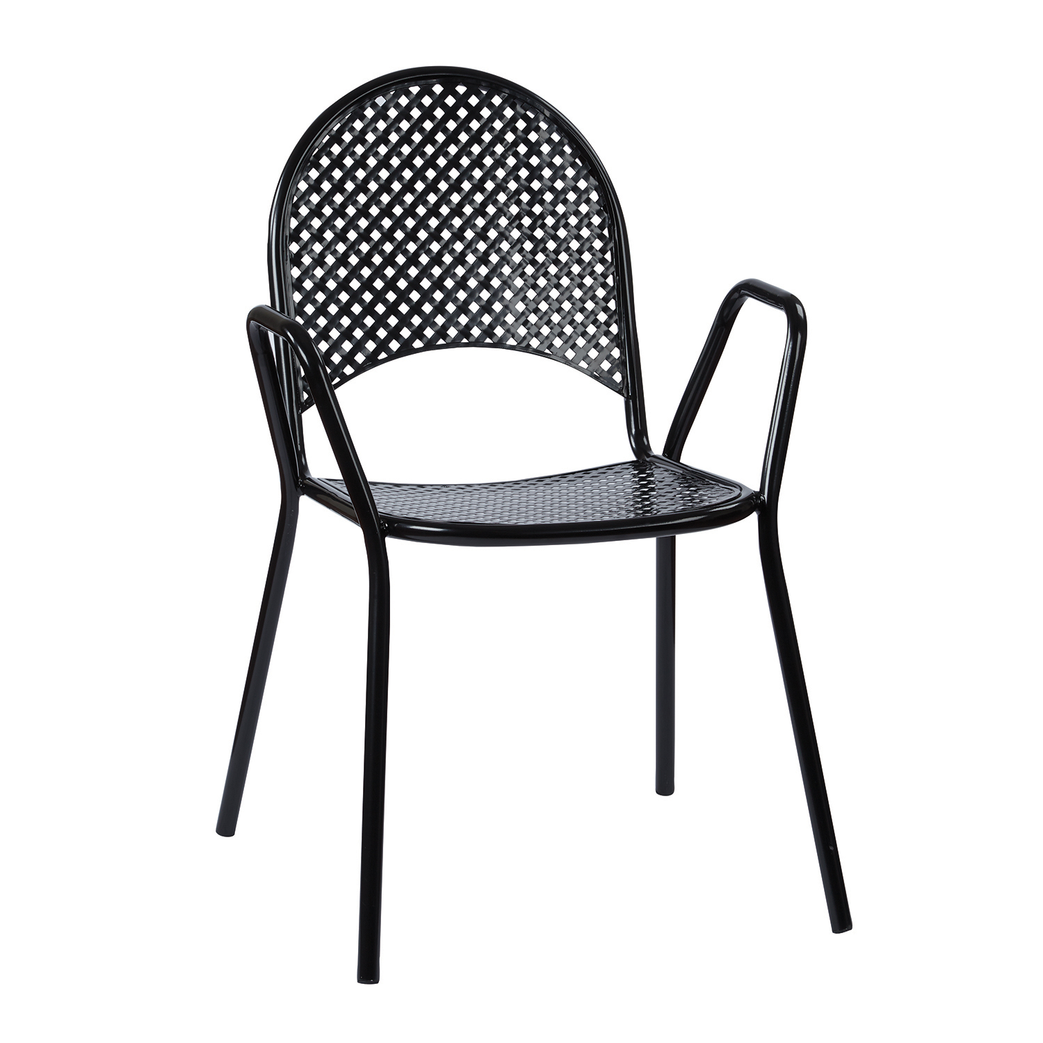 Black Steel Stacking Chairs Set of 2