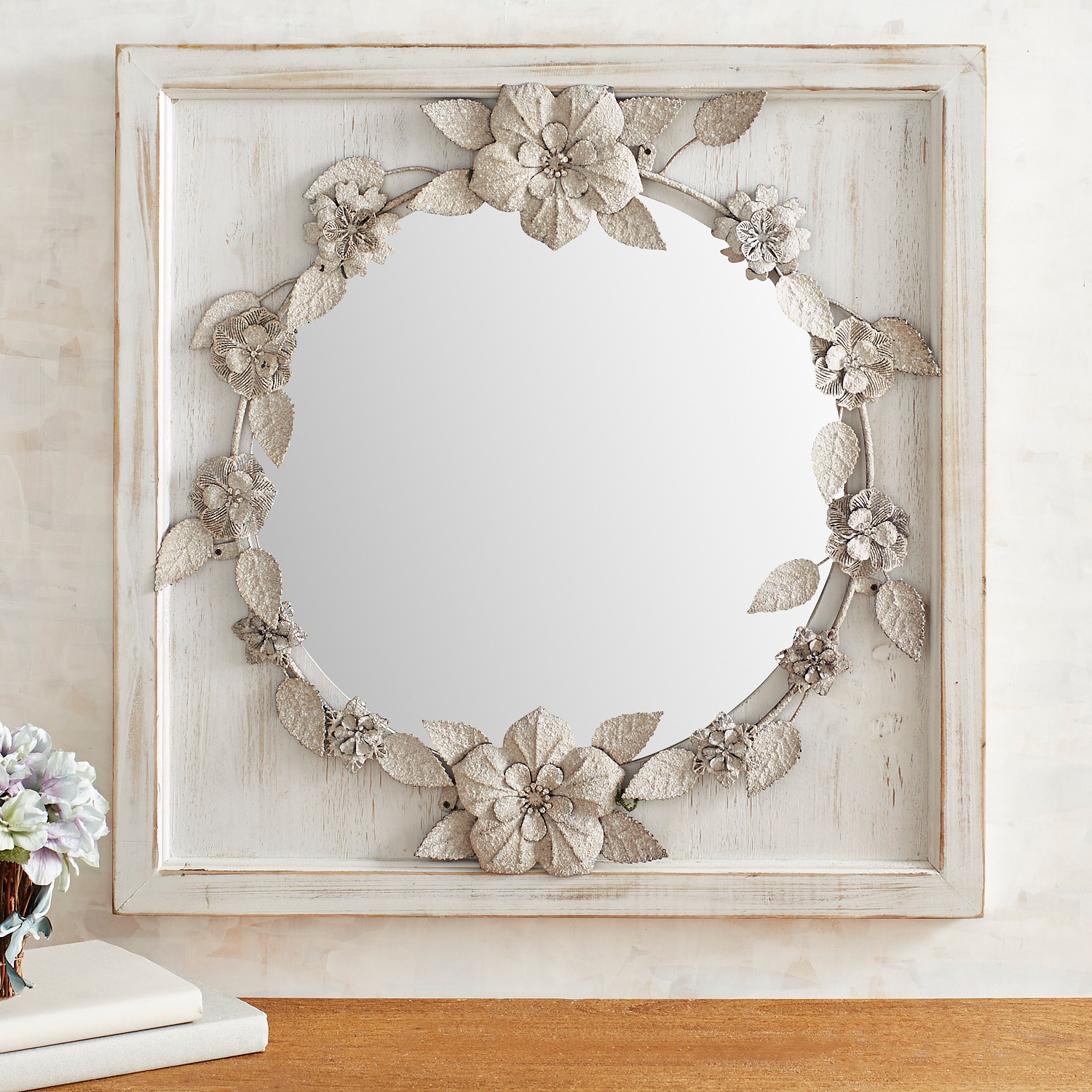 Galvanized Floral Mirror