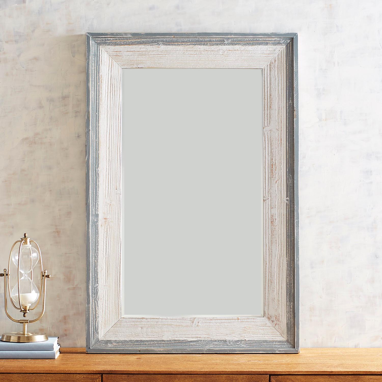 Gray Framed Ivory Mirror