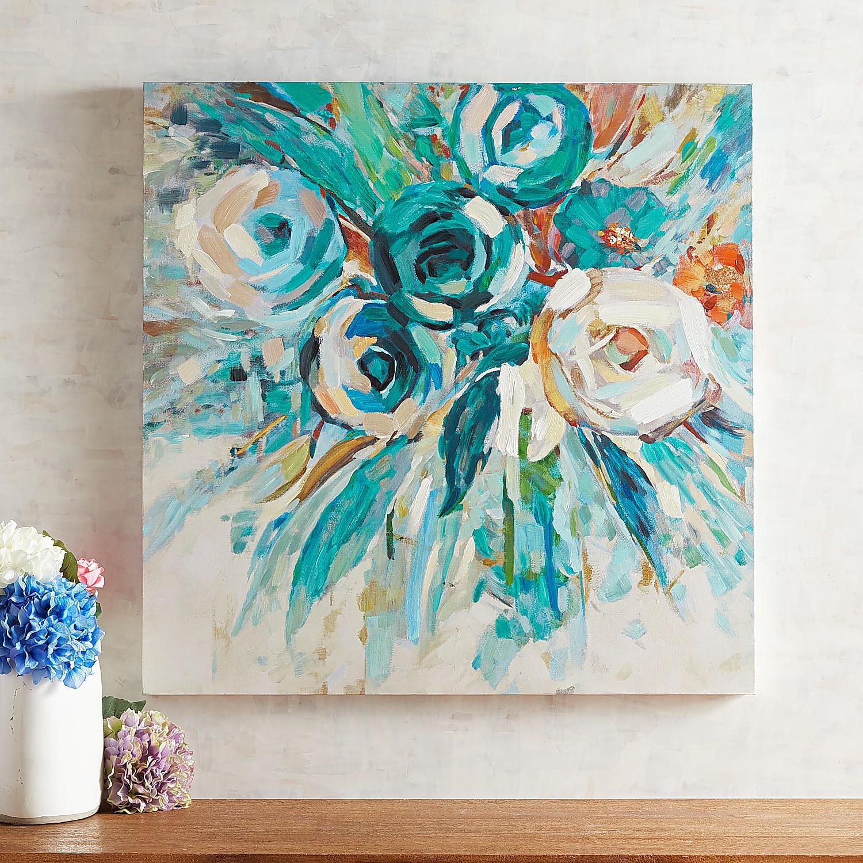 Teal Flower Bouquet Wall Art