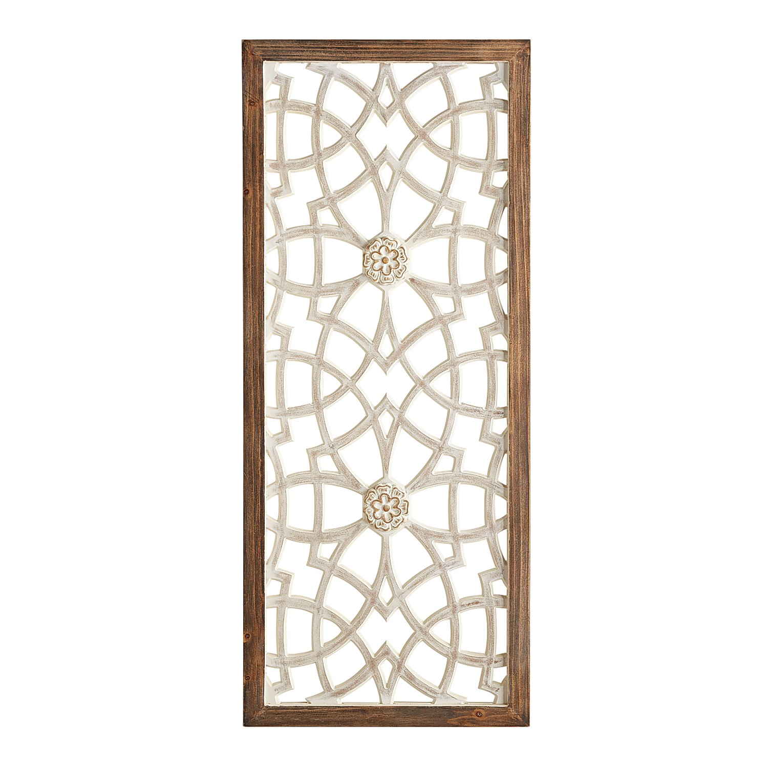 Carved Whitewashed Wall Panel