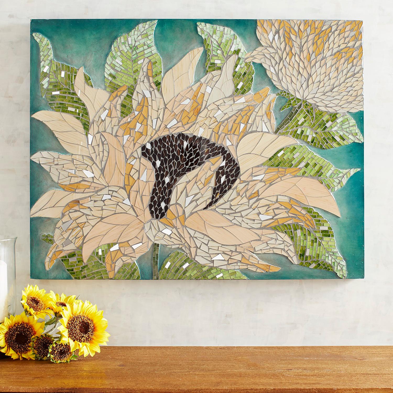 Mosaic Sunflowers Wall Panel