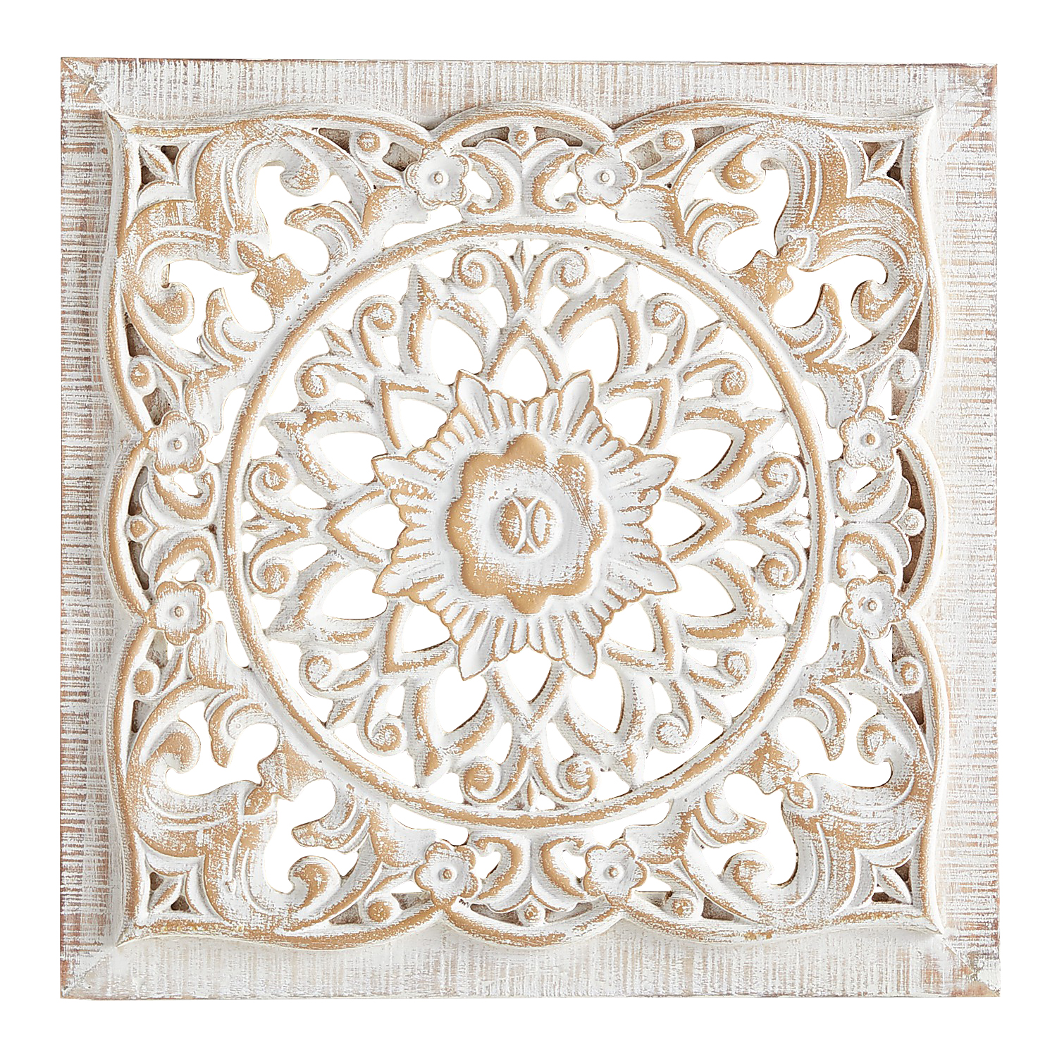 Carved Whitewashed Wall Decor