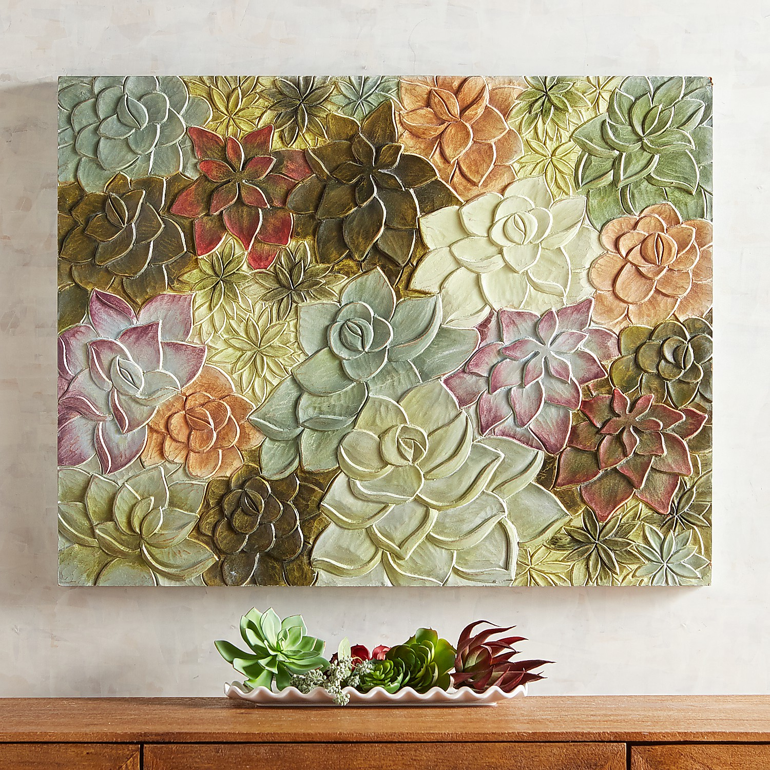 Carved Succulents Wall Decor