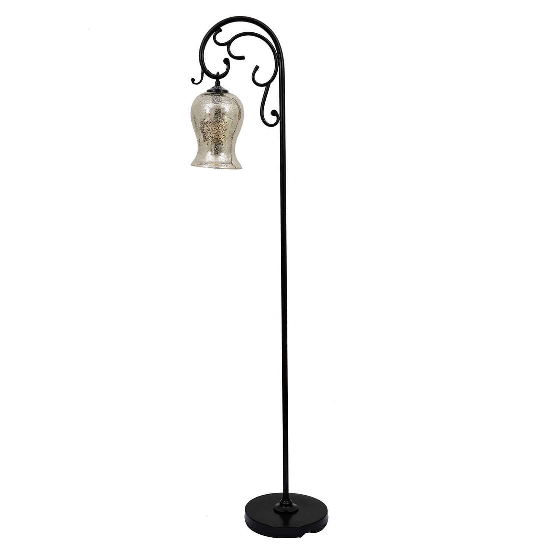 "Bronze Textured 64"" Floor Lamp with Mercury Glass Globe"