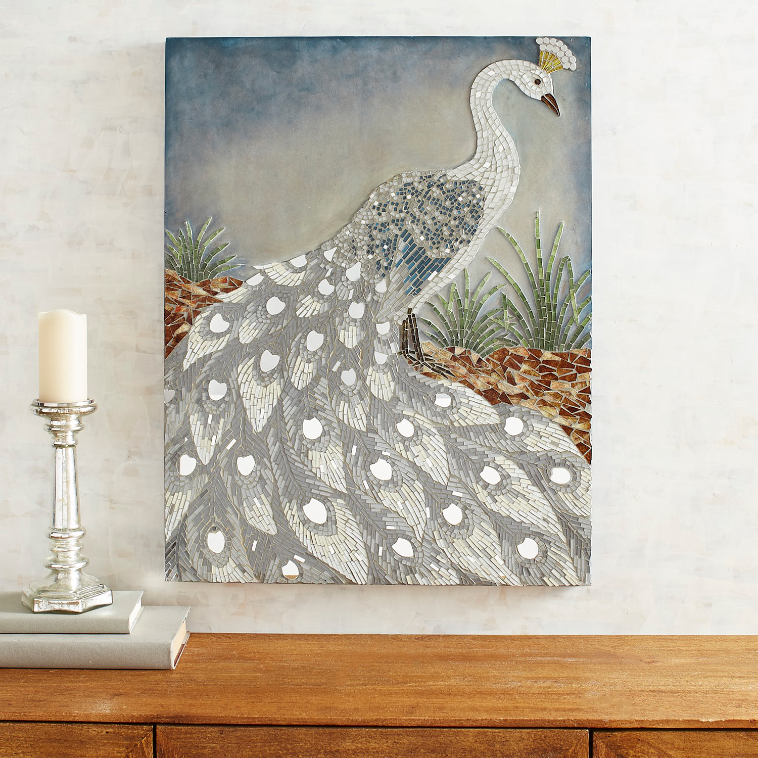 Mosaic Gray Peacock Wall Panel