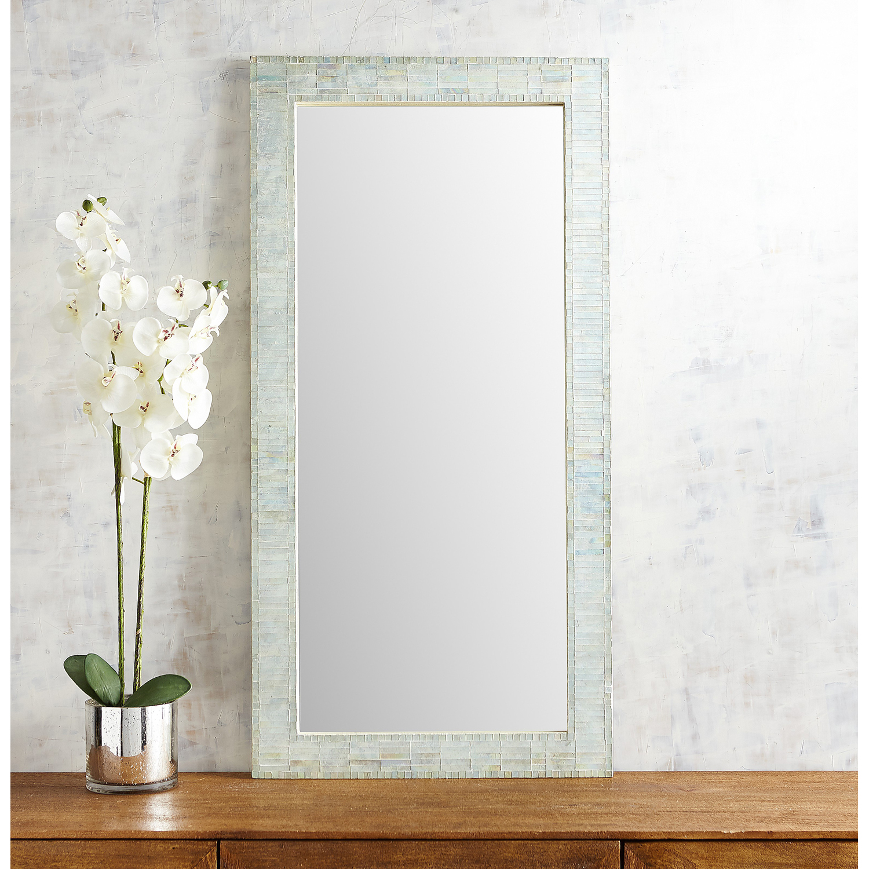 Sleek White Mosaic Mirror