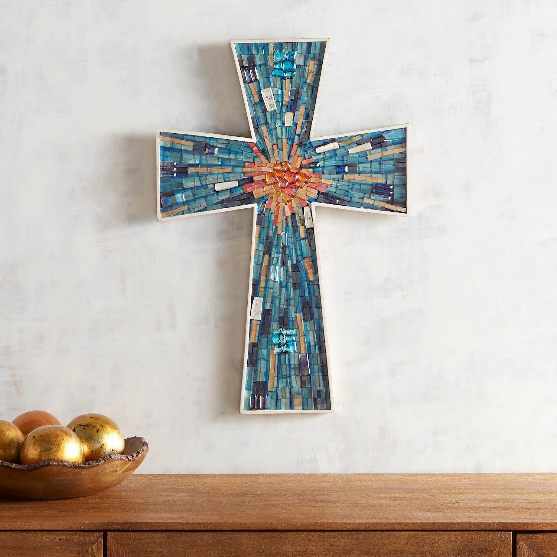 Medium Blue Mosaic Cross