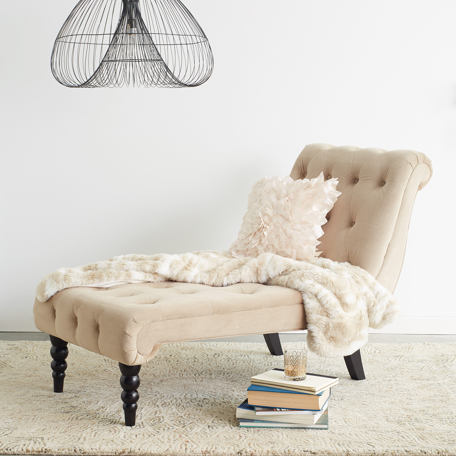 Curves Coffee Brown Tufted Chaise Lounge