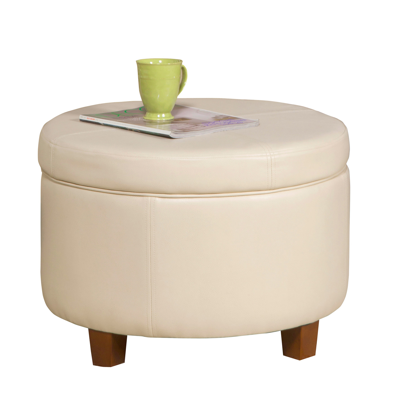 Large Cream Round Storage Ottoman