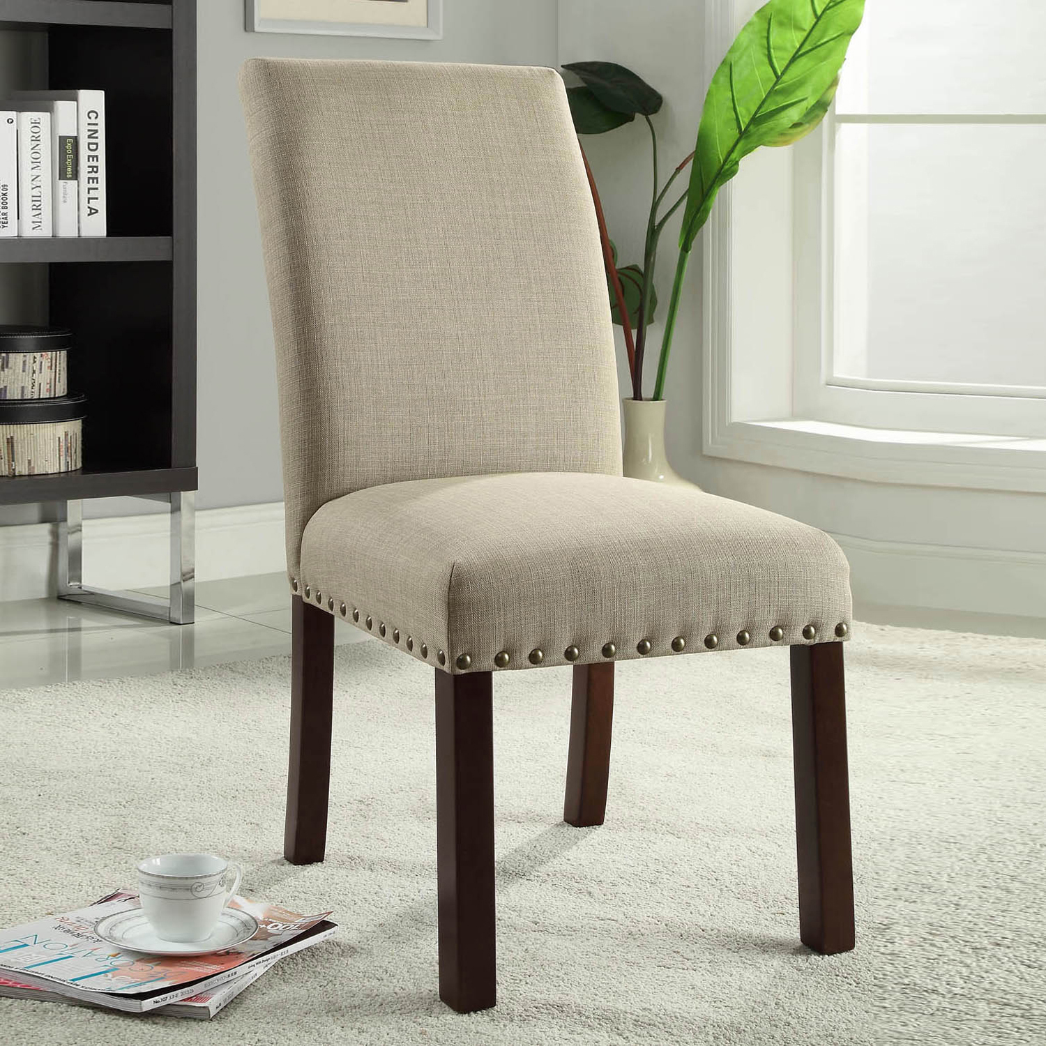 Linen Tan Nailhead Trip Parsons Dining Chairs Set of 2