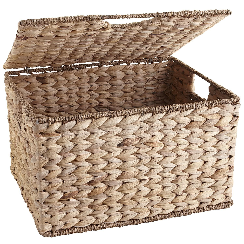 Carson Natural Wicker Rectangular Lidded Storage Basket